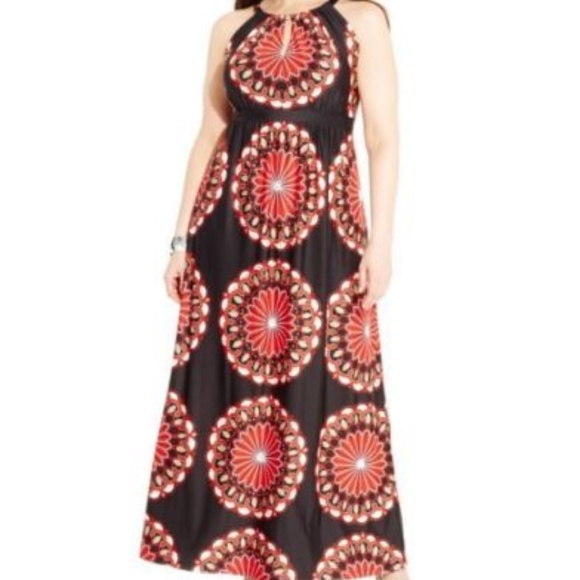 7588b72c2ad2a INC International Concepts Dresses   Skirts -  109 INC red   black medallion  maxi dress 2x